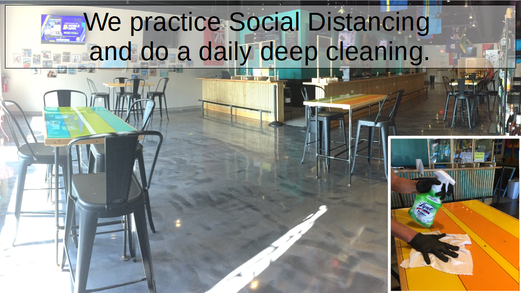 Social Distanced Seating and Daily Deep Cleaning